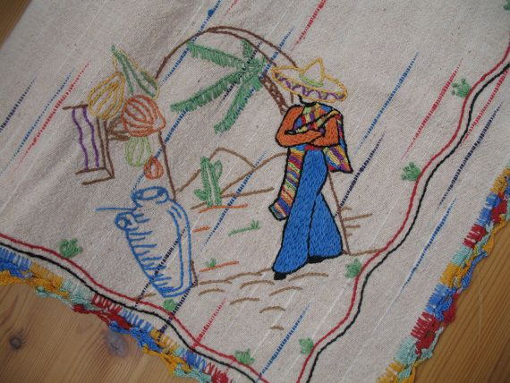 1950's Mexican Southwestern Tablecloth-Embroidered-Beautiful