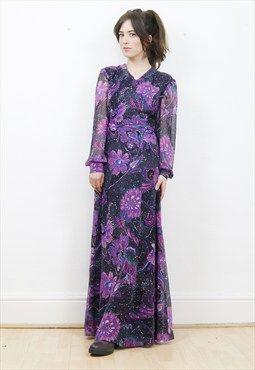 Gorgeous 70s boho floral maxi dress