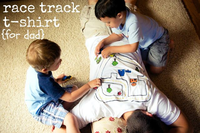 Back rub t-shirt for Dad - turn an old undershirt into a race track t-shirt. Cute gift for the kids to give dad on father's day