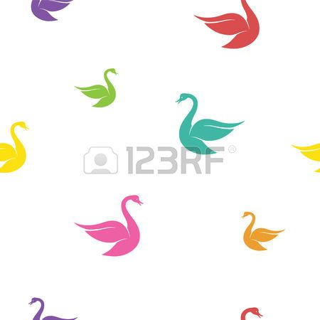 Vector seamless pattern with swan on white background. wallpaper photo