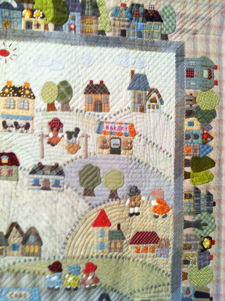 """Country Village"" by Fumiko Fujiwara for The Quilt Festival Exhibit of Japanese quilts inspired by the work of Reiko Kato. Close up 3/5"