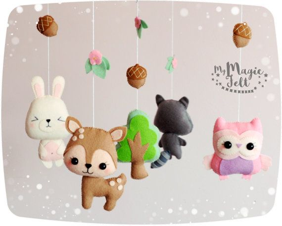 Baby mobile forest Nursery mobile woodland Animals by MyMagicFelt