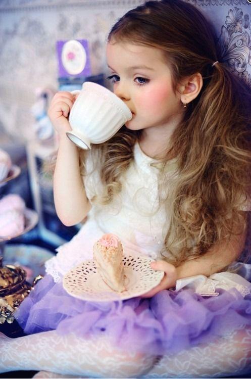 little lady having tea