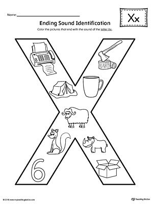 Letter X Ending Sound Color Pictures Worksheet
