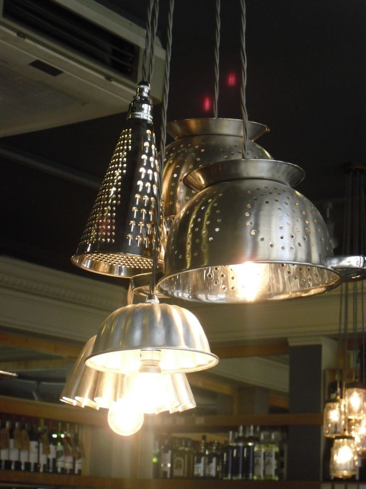 Pendant light created from cheese graters & colanders