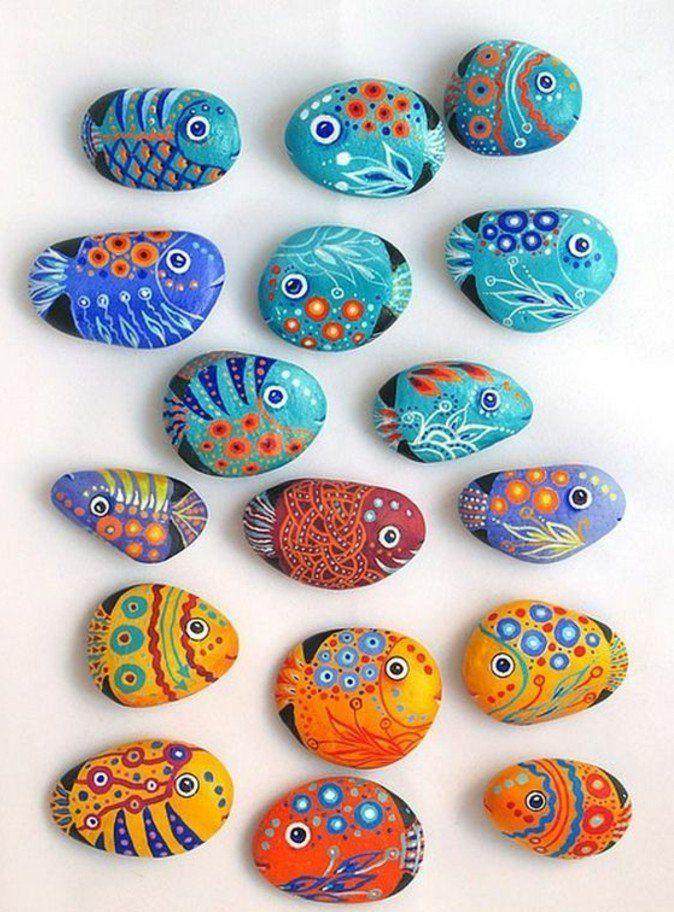 steine bemalen bunte fische auf steine malen