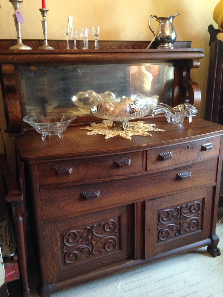 Antique Buffet With Mirror In 2019 Antique Buffet