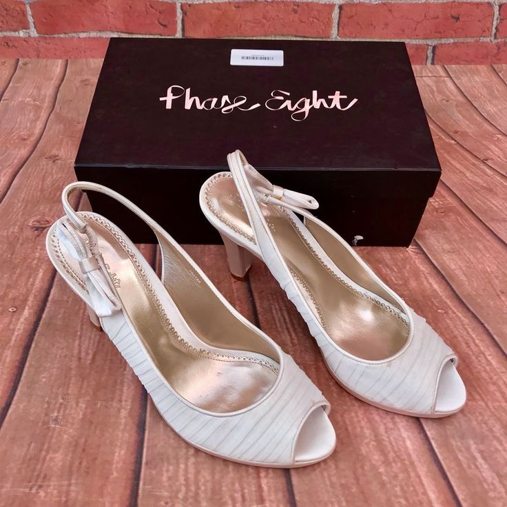 PHASE EIGHT CHAMPAGNE PEEP TOE SLINGBACKS WITH BOW NEW OTHER BOXED SHOES