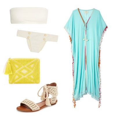 Pair a white bandeau bikini with an flowy cover-up, a bright clutch, and neutral sandals for an effortlessly cool look as you step from sand to shops.