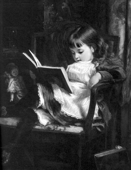 little girl immersed in a book /inmersa en la lectura (autor desconocido)