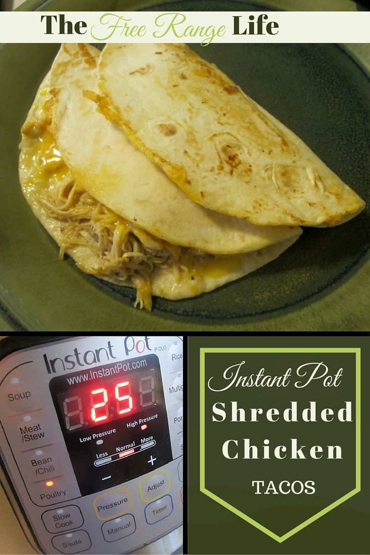 Instant Pot Shredded Chicken Tacos: So quick and easy to make. From freezer to dinner table in less than 45 minutes.