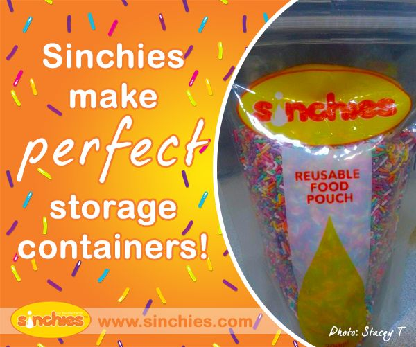 Sinchies make perfect storage containers! No need to find those tupperware lids that always seem to go missing. Image on Sinchies  http://www.sinchies.com.au/sinchies-gallery/