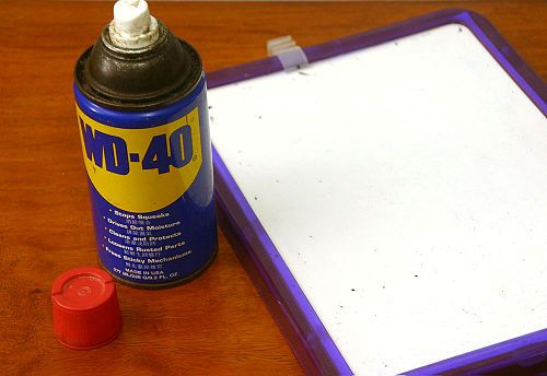 To restore dry erase boards that are hard to erase: spray a clean board with WD-40 and wipe dry with paper towels. The WD-40 fills in the dried pores of the board that hold in marker ink, making it easier to erase.