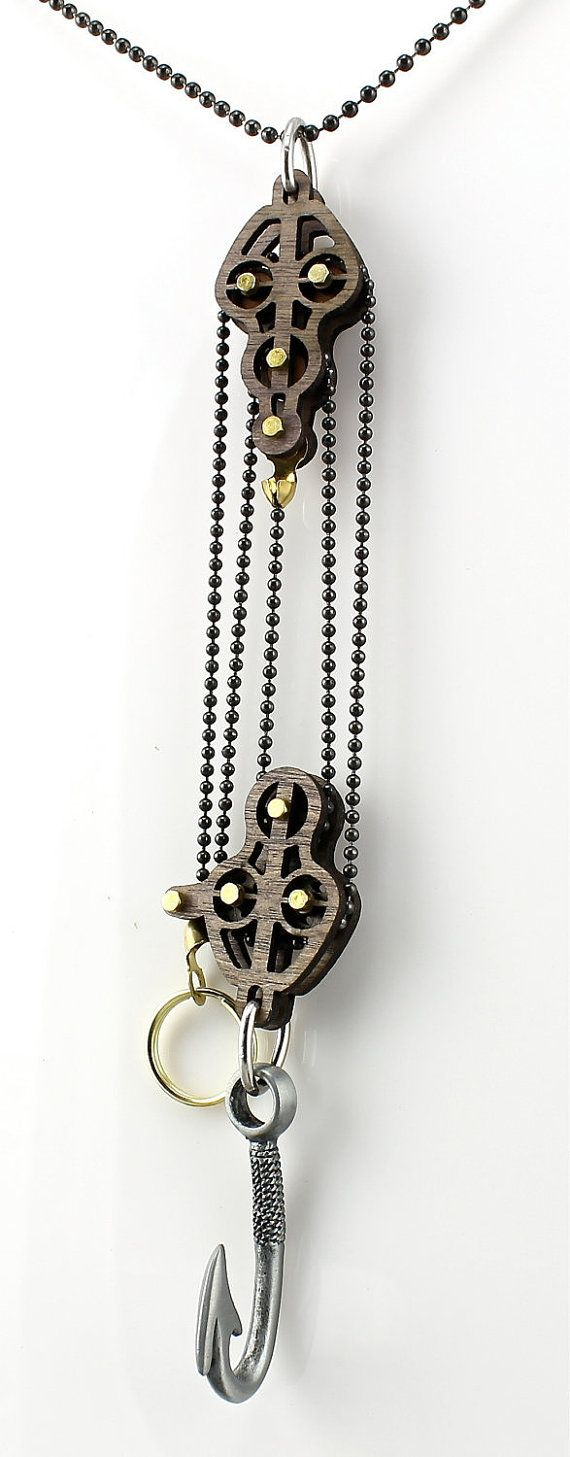 Block and Tackle Pulley Hook Pendent. All Kinetic Designs MOVE! Just pull the brass circle to raise hook     ♦ Fully functional Block and Tackle Pulley system by GreenTreeJewelry on Etsy, $34.95