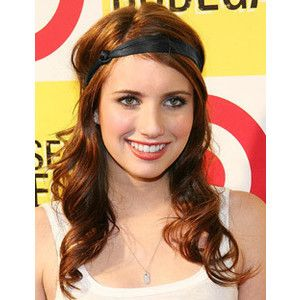 Casual hairstyle for long wavy red hair. Headband.