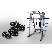 Force USA Smith Machine System Combo & 100kg Olympic Weight Plates  This package includes the following items:  - 1 x Force USA - Power Rack System Combo - 1 x 7 foot Olympic Barbell - 500lbs - 2 x 15kg Rubber Coated Olympic Weight Plates - 4 x 10kg Rubber Coated Olympic Weight Plates - 4 x 5kg Rubber Coated Olympic Weight Plates   For more info visit: http://www.gymandfitness.com.au/force-usa-smith-machine-system-combo-100kg-olympic-weight-plates-pack.html