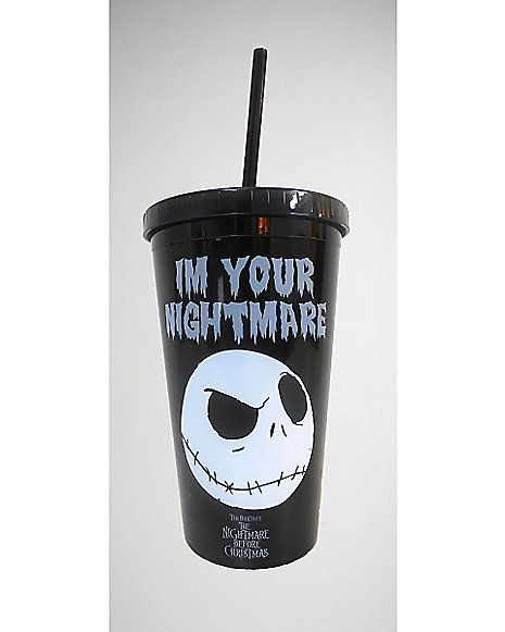 Nightmare Before Christmas Jack Nightmare Cup With Straw Spencer S