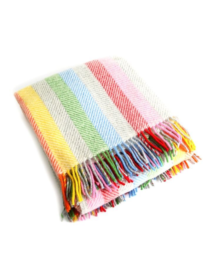 Country Attire Wool Striped Stripe Throw - Rainbow Grey