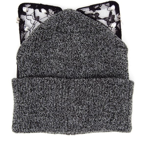 Silver Spoon Attire Bad Kitty Beanie Hat (1,720 MXN) ❤ liked on Polyvore featuring accessories, hats, black beanie cap, patch hat, black lace hat, studded beanie and black studded hat
