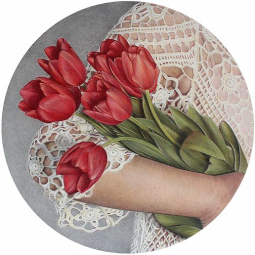 Tulips and Lace a really great Combination. This drawing is one of a long series by Cristina Iotti