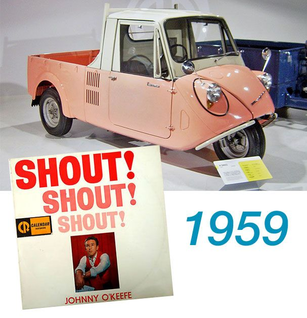"""What music will you be listening to in your car this weekend?! Well if it was a weekend in 1959 you might have been driving the newly released Mazda 3 wheeler mini truck and bopping away to Johnny O'Keefe's new track """"Shout""""!"""