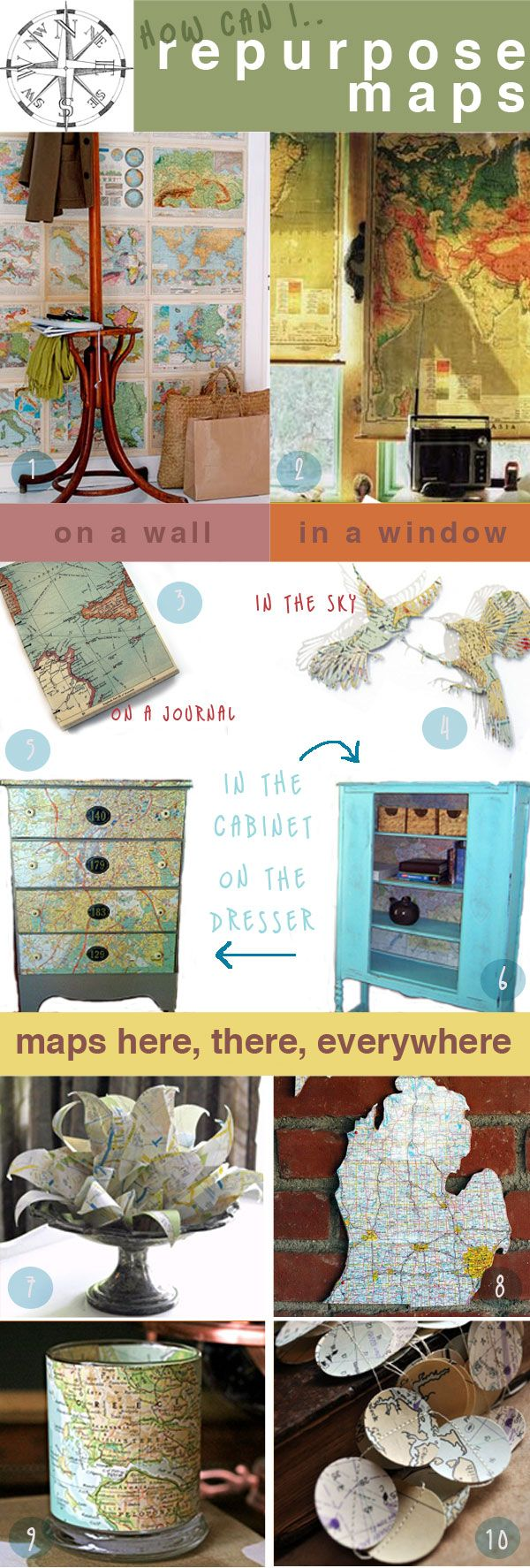 Repurposing (more) Map ideas~ great stuff!Crafts Ideas, Travel Inspiration Wedding, Maps Recycle, Old Maps, Repurpoed Maps, Crafts Paper Drawers, Globes Crafts, Maps Ideas, Crafts Maps