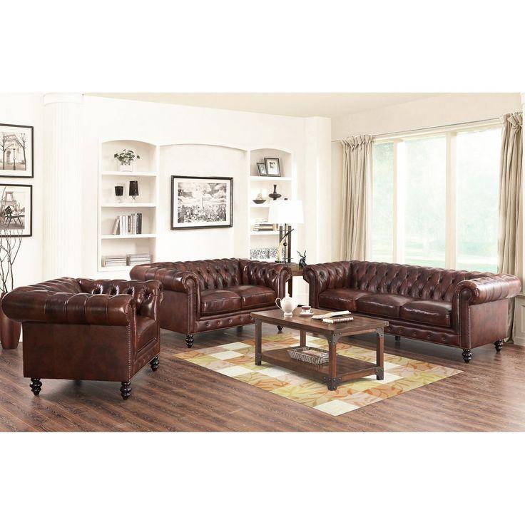 Abbyson Grand Chesterfield Brown Top Grain Leather Sofa Set - SK-29039517-BRN-3/2/1