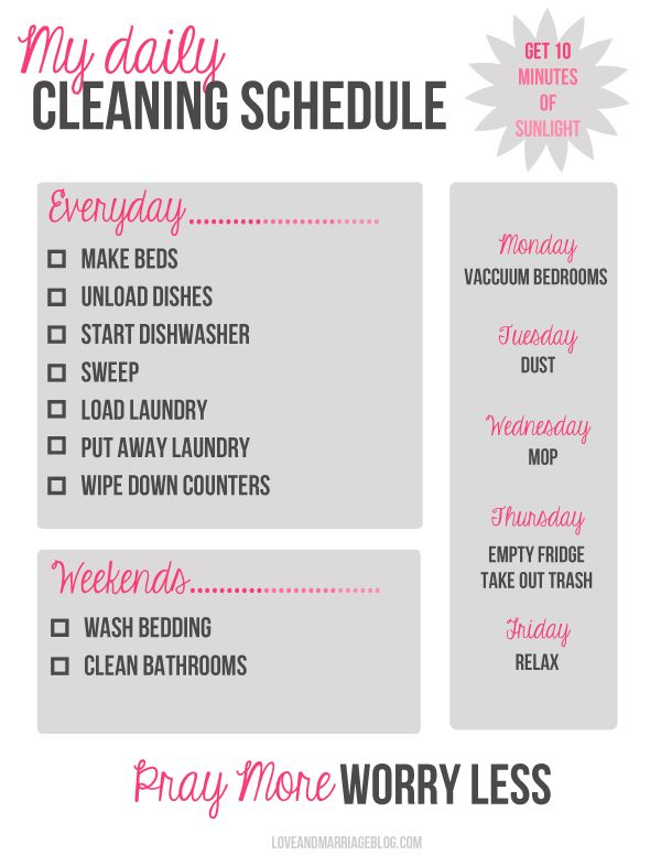 Daily Cleaning Schedule   #domesticcleaning #cleaningchecklists http://www.cleanerscambridge.com/