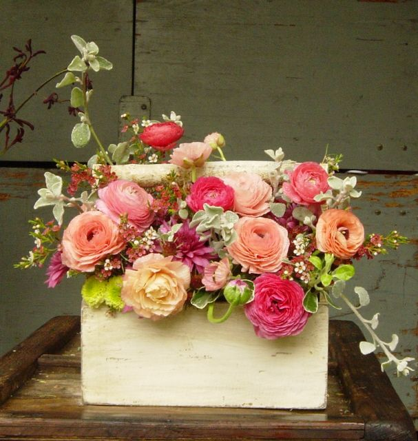tool box flowers...flowers in boxes, interesting vessels?  lanterns, tin lunch pails