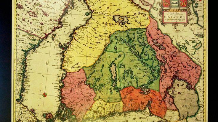 Kartta Suomen läänijaosta 1700-luvulla. Copyright: Jaakko Avikainen/Lehtikuva. Kuva: Jaakko Avikainen/Lehtikuva.