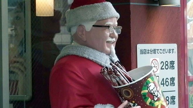 KFC's Colonel Sanders Signals Christmas in Japan... VIDEO: Kentucky Fried Chicken markets their meals as a holiday tradition. 【実は日本だけの文化だった】「なんでクリスマスにケンタッキーなの?」