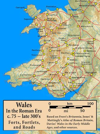 Image result for roman roads wales map