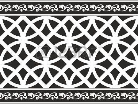 Naadloze zwart-wit gothic bloemen vector textuur (grens) Stockfoto - 13487466