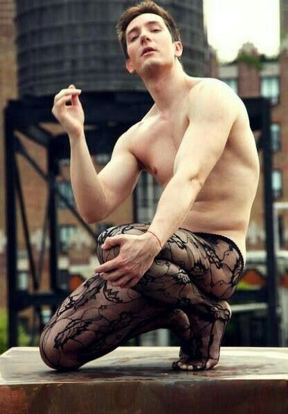Men wearing fishnet stockings