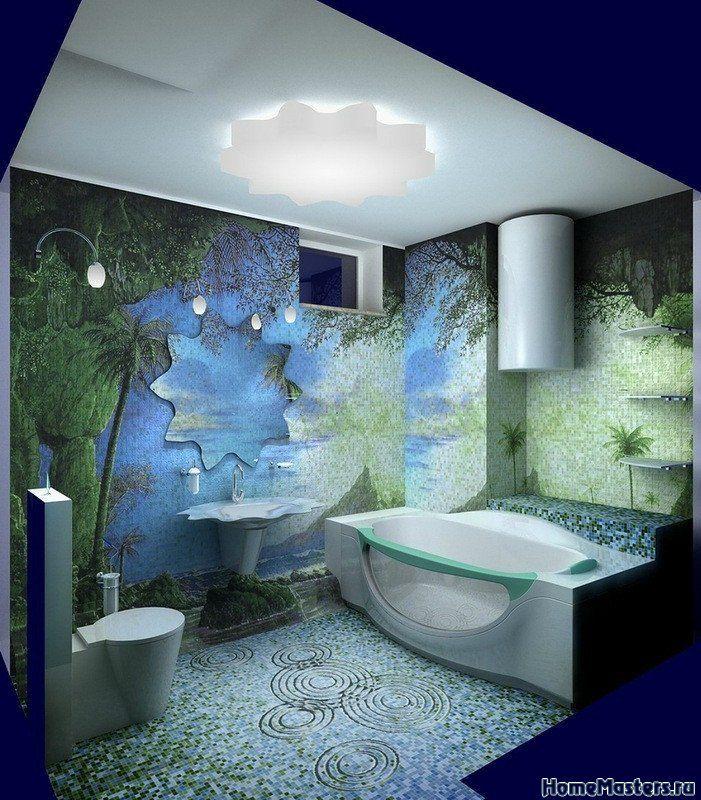 Тропическая ванная   Дизайн ванной комнаты   Фотогалерея ремонта и дизайна   Школа ремонта. Ремонт своими руками