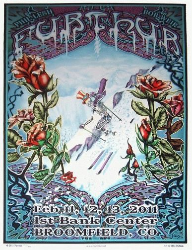 Original silkscreen concert poster for Furthur at The First Bank Center in Broomfield, Colorado in 2011. 14 color silkscreen by artist Mike DuBois. 14.5 x 22 inches. Signed by the artist Mike Dubois as an Artist Edition.
