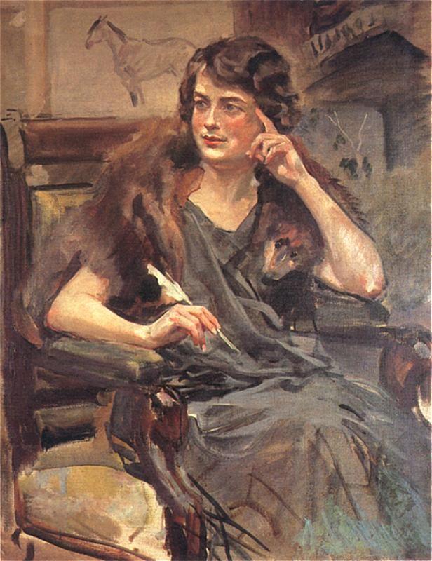 Wojciech Kossak. Portret córki artysty, Magdaleny Samozwaniec. 1923.Olej na płótnie. 98 x 78 cm. Własność prywatna
