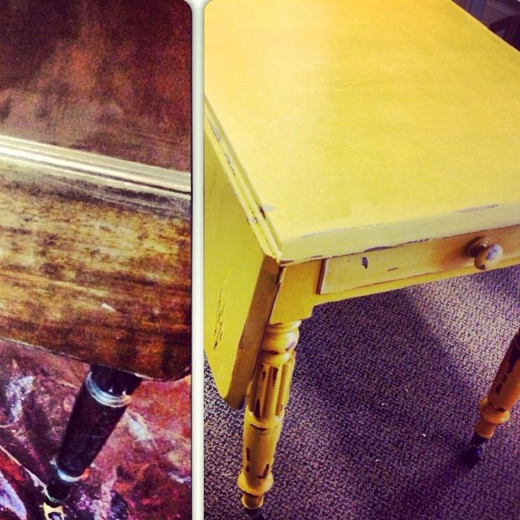 Table refurbishment #mustard #shabbychic