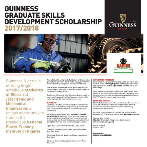 Guinness Nigeria is offering bright Ambitious graduates of Electrical /Electronic and Mechanical Engineering a unique opportunity to train at the Prestigious National Power Training Institute of Nigeria.