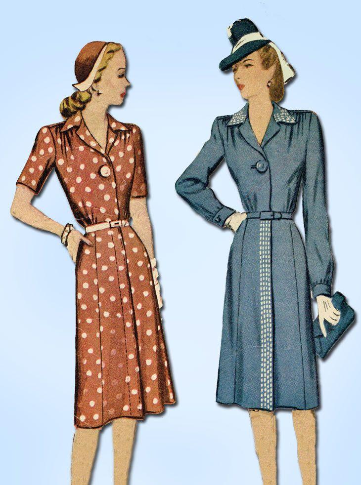 1940s Vintage McCall Sewing Pattern 5515 WWII Misses Shirtwaist Dress Sz 12 30B