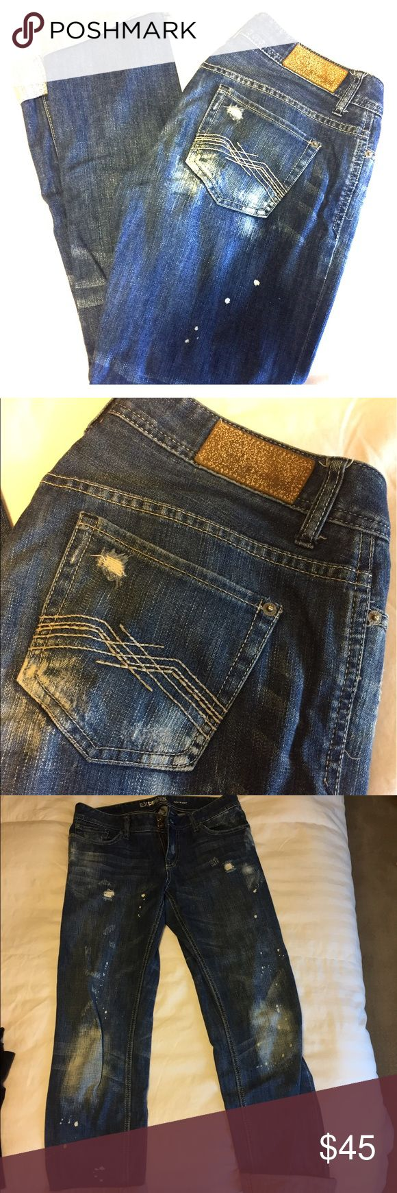 Express distressed women's boyfriend jeans Boyfriend jeans with distressed wash from Express. Can be rolled up or let down. Only worn a few times; in excellent condition! Size 4, very comfortable & relaxed fit. Express Jeans Boyfriend
