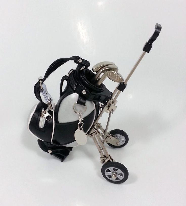 Personalized Engraved Mini Golf Club Pen Set with Black and Silver Bag and Cart Purchase now at SoCuteInc.com