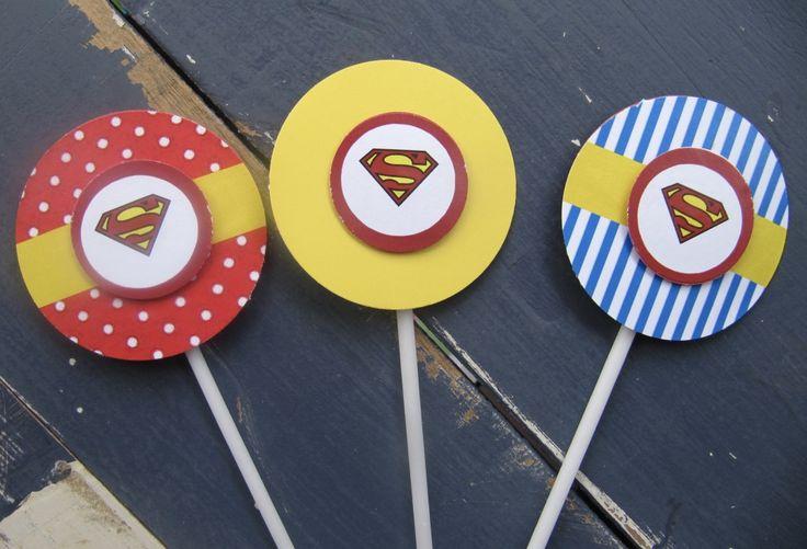 Handmade Superman Cupcake Toppers