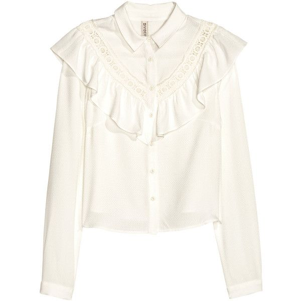 Ruffled Blouse $29.99 ($30) ❤ liked on Polyvore featuring tops, blouses, short-sleeve blouse, flounce top, long sleeve ruffle blouse, ruffle collar blouse and white long sleeve blouse