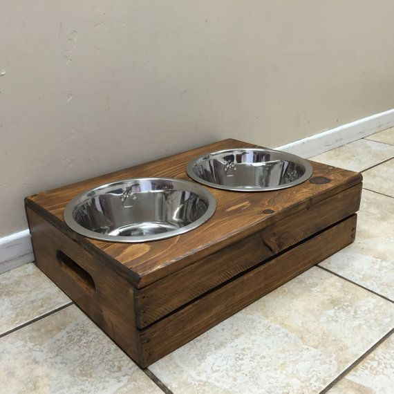Wine Crate Dog Feeder  Wooden Dog Feeder  Crate Dog Feeder