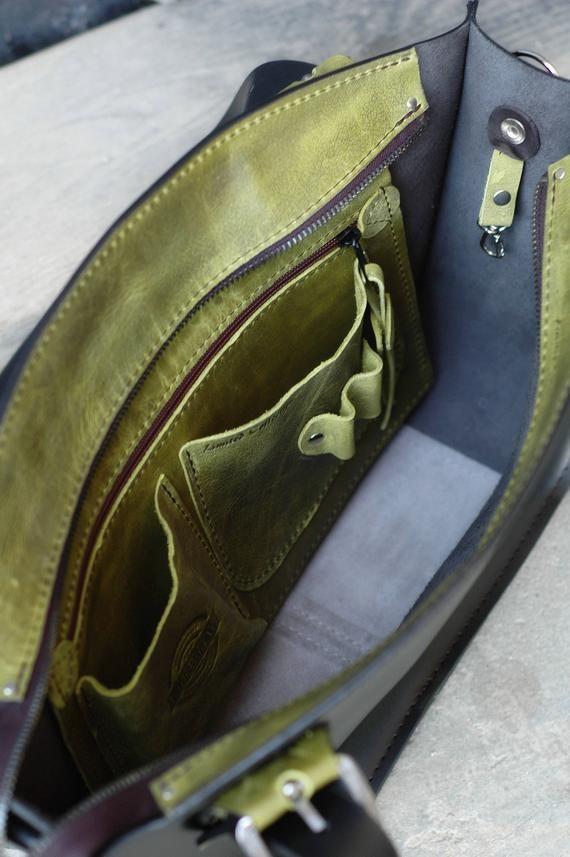 104b5f1dcaf77e Black Office Tote Handmade Leather Handbag with Clutch set Kuferek ...