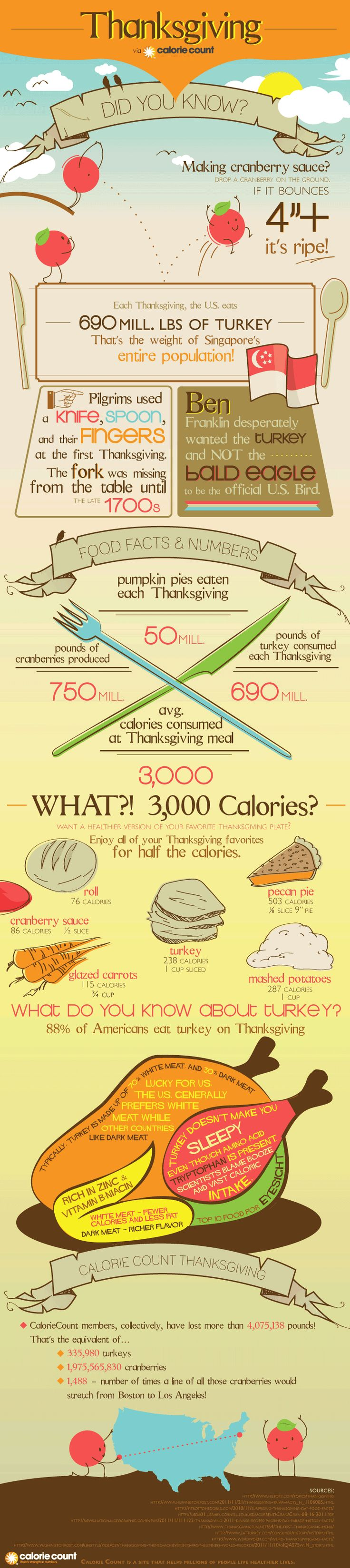 Thanksgiving Infographic - Fun Facts about Thanksgiving Foods