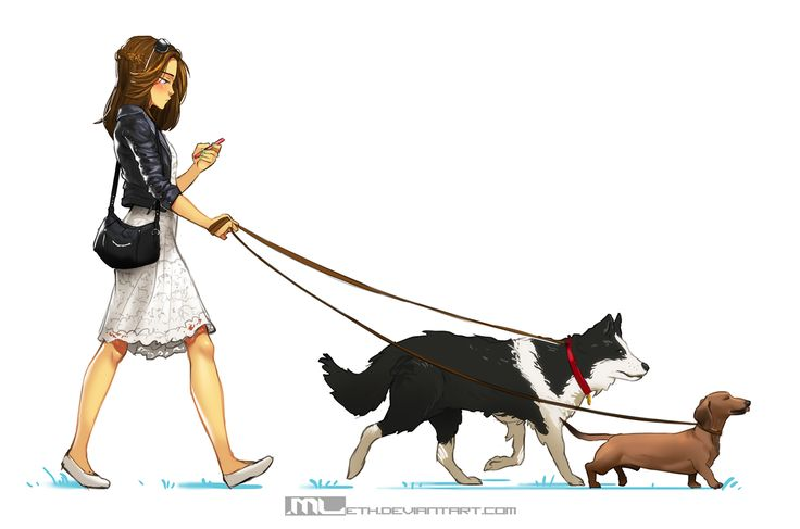 Brooke walking dogs by MLeth