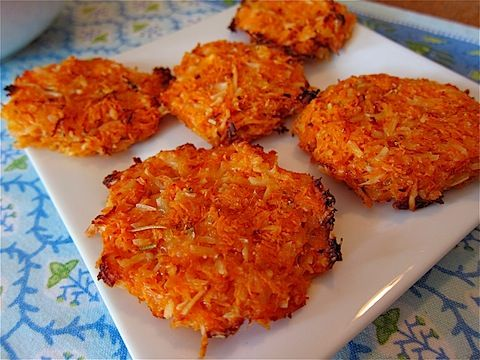 BAKED Sweet Potato Crisps! (2 sweet potatoes, egg whites, Parmesan rosemary) Grate potatoes, mix ingredients, shape patties, bake!