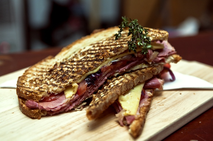Oversized Artisan Sourdough Toastie - Salted Beef with Red Onion & Blueberry Jam, Gouda, Wholegrain Mustard, Vine Tomato & Relish.